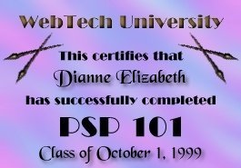 Web Tech University's PSP 101 Diploma
