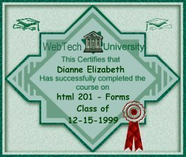 Web Tech University's Forms Diploma