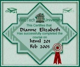WebTech University's HTML 201 Diploma